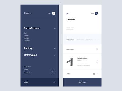 Ritmonio. mobile e commerce app ios website design ux clean web ui