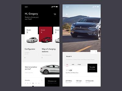 Tesla Concept web tesla mobile app ios design ux clean ui