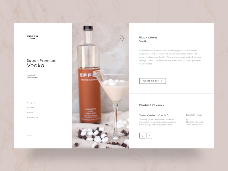 Effen Luxury Vodka white spotify black shop landing web-design web design website design ux clean web ui