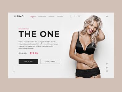 "Concept homepage for lingerie brand ""ULTIMO"" minimal flat web web design ux ui landing homepage design concept"