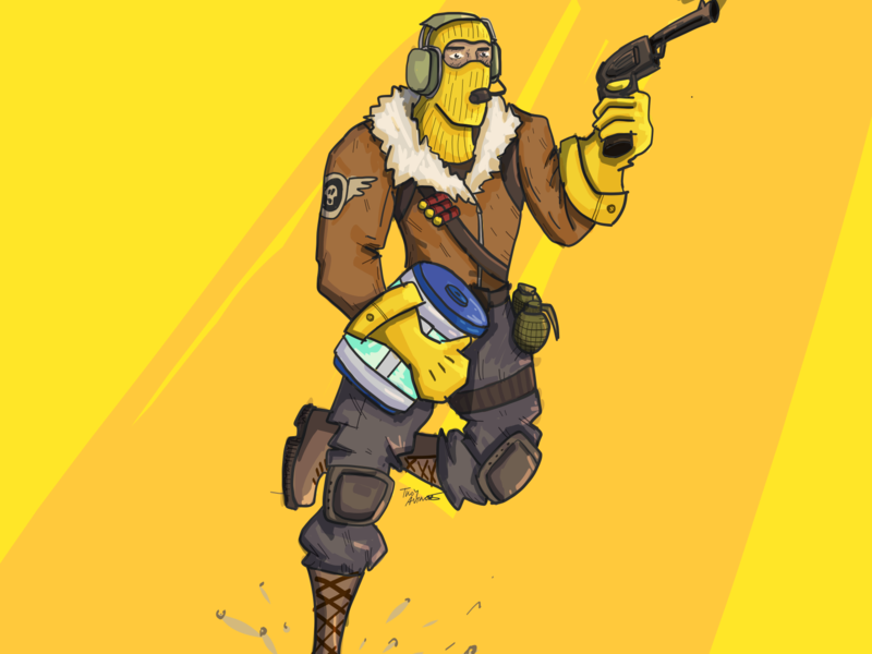 Yellow Raptor gaming draw adobe yellow fortnite action drawing color design illustration