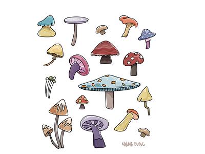 Mushrooms illustrator foodies foodillustration mushrooms doodles illustration vector