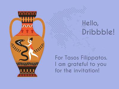 Hello Dribbble ancient snake gettera dance amphora greece vector illustration design