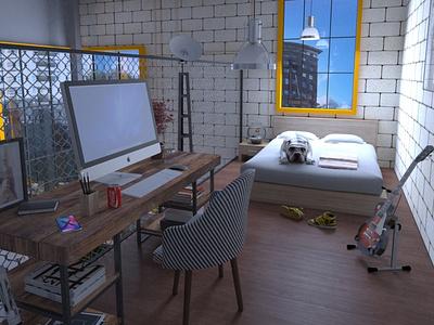Apartament Kitnet 30m2 - Brazil vray 3dsmax arquitectura apartament 3d modeling contruction 3d art arquitecture