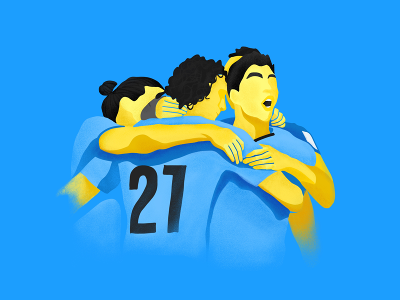Goool uruguay la celeste digital illustration design football illustration