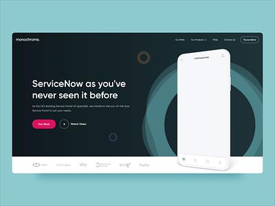 Monochrome ServiceNow Microsite Hero app ui phone servicenow animation banner hero