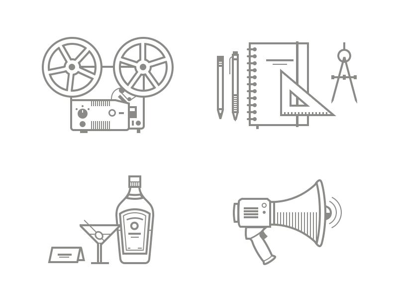 DG Illustrations icons illustrations line projector art gin cocktail megaphone