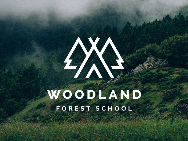 Woodland Forest School Logo tents logo trees tree teepee camping woodland school forest w