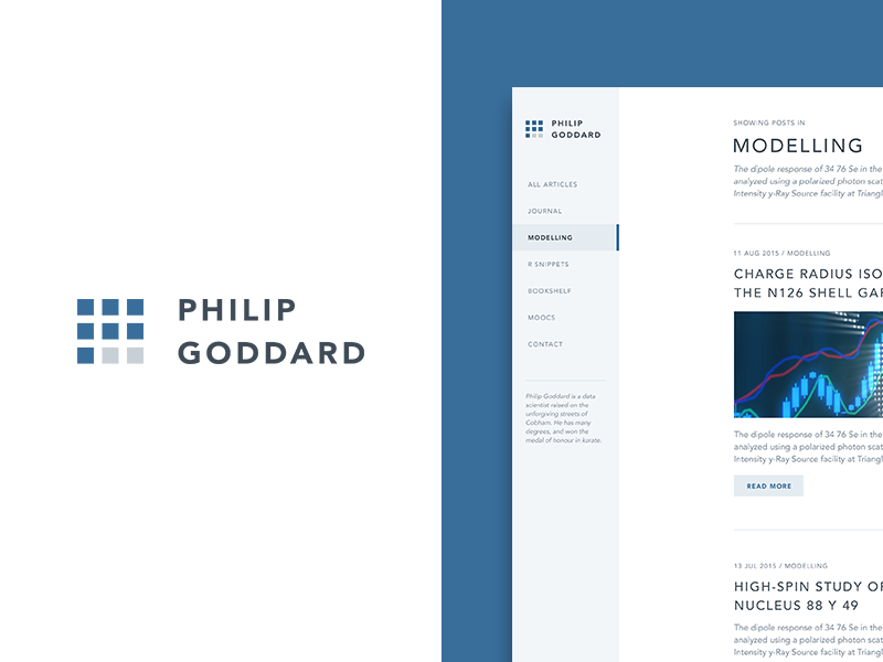 Philip Goddard style site blog logo personal analyst data science