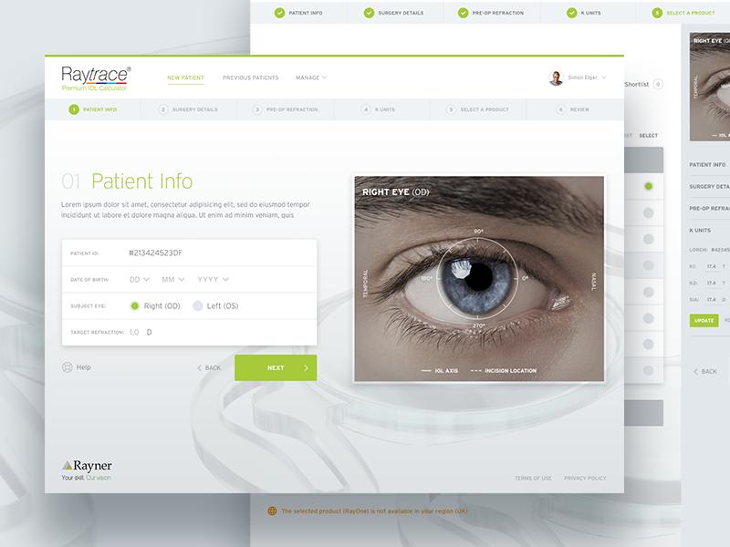 Raytrace medical surgery eye web ui