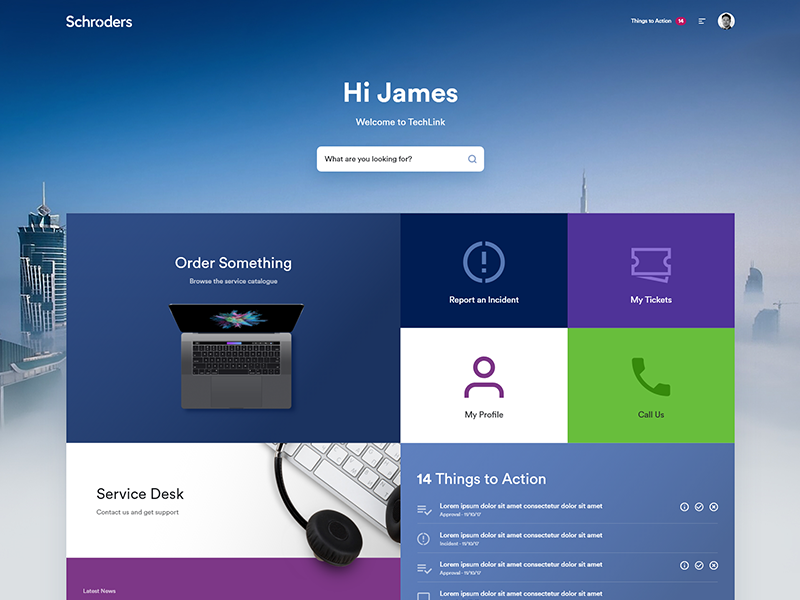 Schroders ServiceNow Portal by Matt Dayton on Dribbble