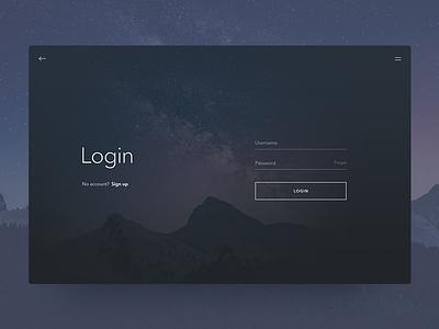 Login Screen sign in dailyui 001 daily ui dailyui ui app web sky dark minimalist minimal login
