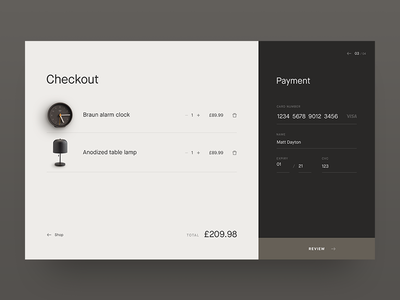 Checkout Screen dailyui 002 dailyui ui app web minimalist minimal credit card payment shop checkout