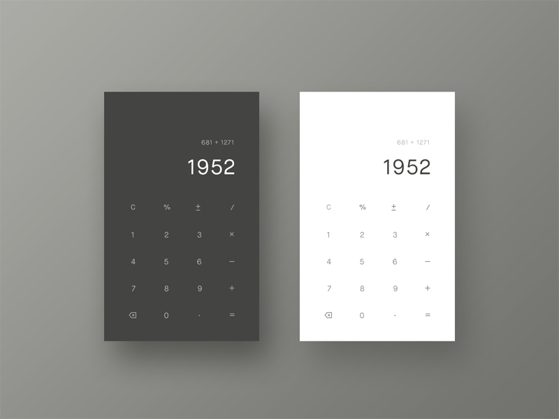 Calculator light dark simple dailyui 004 daily ui dailyui minimalist minimal calculator