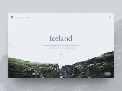 Travel Website Landing Page animated minimalist minimal dailyui 003 daily ui dailyui ui travel iceland clouds web website landing page