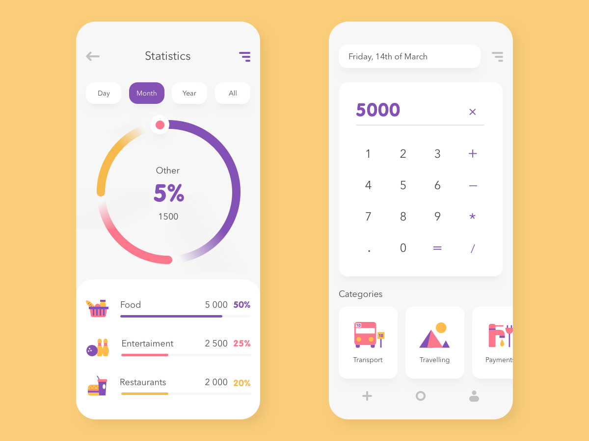 Mobile UI #1. Expenses manager app design purchases analytics chart diagram vector icons calculator expenses digital ux ui mobile ui mobile app