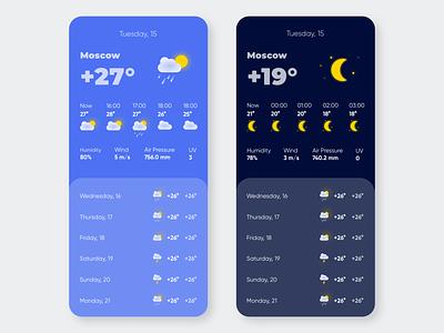 Mobile UI #5. Weather app. illustrations icons weather forecast weather application mobile app mobile uxui mobile ui