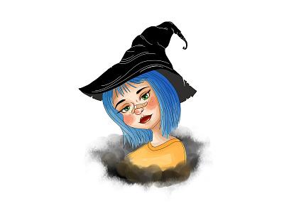 Little witch dibujo dibujodigital ilustración illustration art lineart art illustration illustrator painting paint