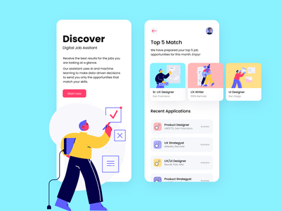 Job Search Mobile App interface exploration productdesign product icons onboarding illustrations illustrations/ui cards appdesign uxui uxdesigner uxdesign job media colors jobsearch uidesign app mobile ui mobile