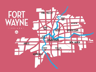 Fort Wayne Indiana Map By Drew Wallace Dribbble Dribbble