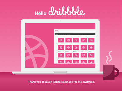 Hello Dribbble thanks invitation shot first dribbble debut