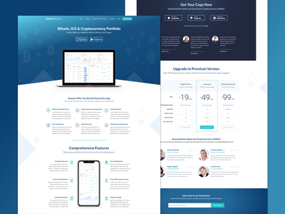 Cryptocurrency Landing Page landing page sketch webdesign website theme blockchain bitcoin wordpress themeforest cryptocurrency