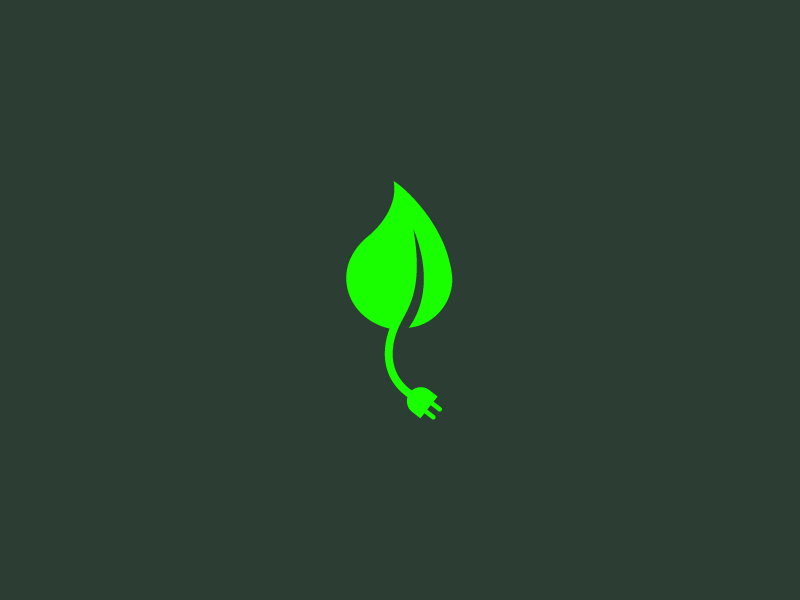 eco // logo energy green reusable mark trade brand logo plug socket leaf eco