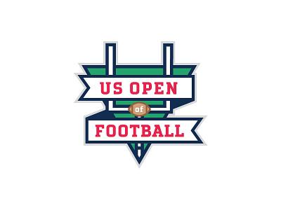 US Open of Football Logo yards post field foot ball sports logo flag football