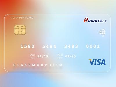 Visa card with Glassmorphism adobexduikit logo design