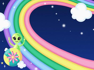 Zoom-Zoom-1 lisa frank gradient rainbow space cloud star alien illustration