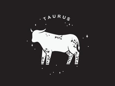 Taurus lettering flourish vines leaves star celestial floral bull taurus zodiac