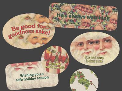 Christmas Stickers packaging holiday mistletoe present sticker christmas santa