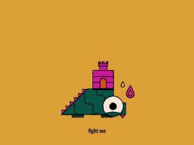 Fight Me cute flame fire castle monster dinosaur icon geometric illustration vector sydney goldstein