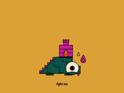 Fight Me cute flame fire castle monster dinosaur icon geometric illustration vector sydney goldstein