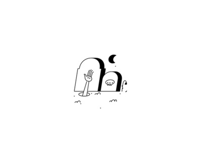 Zombies black and white graveyard grave skull moon flower arm hand illustration vector sydney goldstein