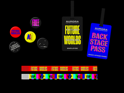 Future Worlds Noise Badges button pass backstage wristband layer branding type logo typography sydney goldstein