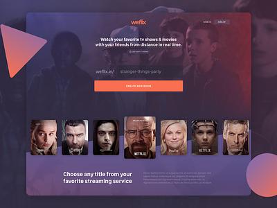 On-demand streaming with friends - Landing Page tv netflix streaming ui purple dark landing home gradients desktop web