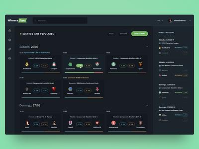 Sports betting platform web interface dark interface betting sports