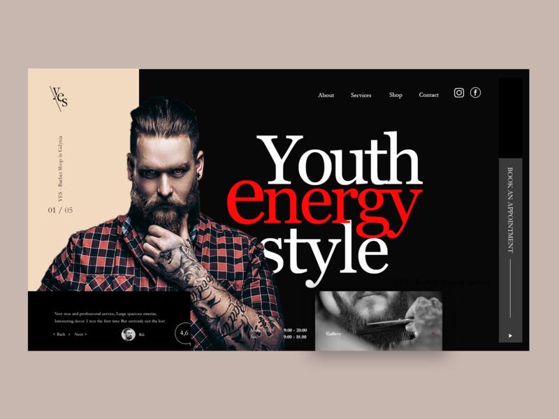 Barbershop icon website web design illustration photoshop design ux ui