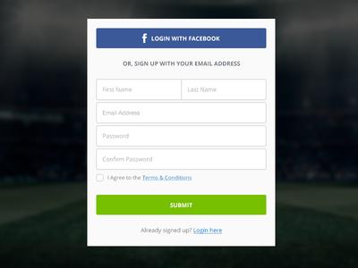 Signup Form  signup facebook ui button social input form login