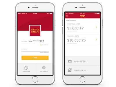 Wells Fargo App  app banking financial ui ux ios wells fargo
