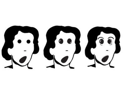Scared Woman graphic novel face drawing black and white graphic illustration design art