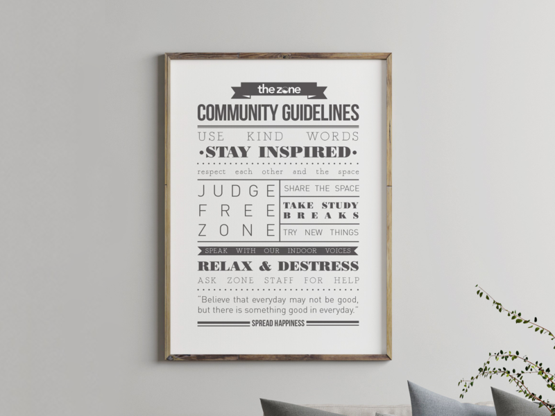 Community Guide at The Zone print typography branding design
