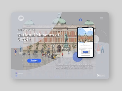 Landing Page National Museum Belgrade website design ux ui typography graphic  design illustrator illustration vector branding