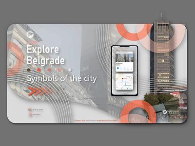 Landing page Explore Belgrade userexperiance uxdesign uxui web design graphic  design illustrator illustration adobeillustator vector branding