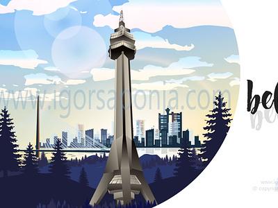 avala tower belgrade by igor saponja logo illustration web typography logo design illustrator graphic  design vector branding adobeillustator