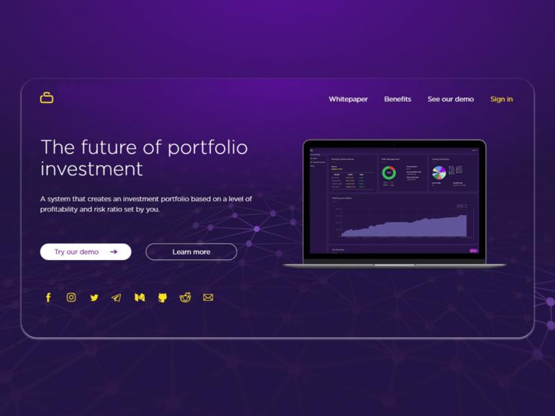 Investment portfolio landing page vector branding minimal website flat front end design landing page web design ui