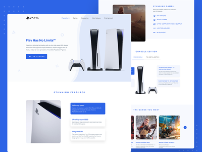 PlayStation 5 web design - Website ui ux design - Landing page interface minimalist minimal clean modern product product design template typography ui ux ui design ux user interface visual design landing page web design website design website web ui