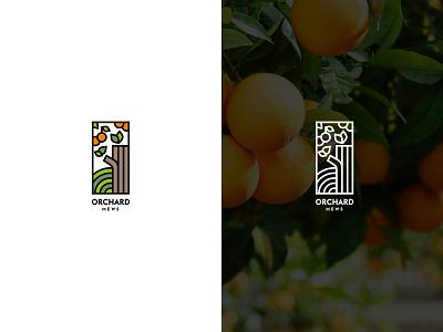 Orchard Mews orange logo outlined line logo orange mews orchard vector illustration minimal logo branding moyedesign moye