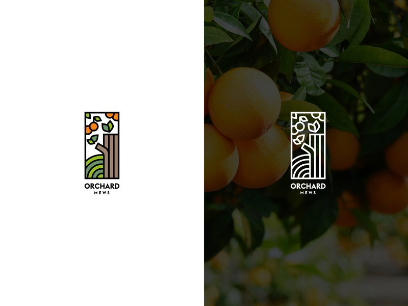 Orchard Mews orange logo outlined line logo orange mews orchard vector illustration minimal logo branding moyedesign moye